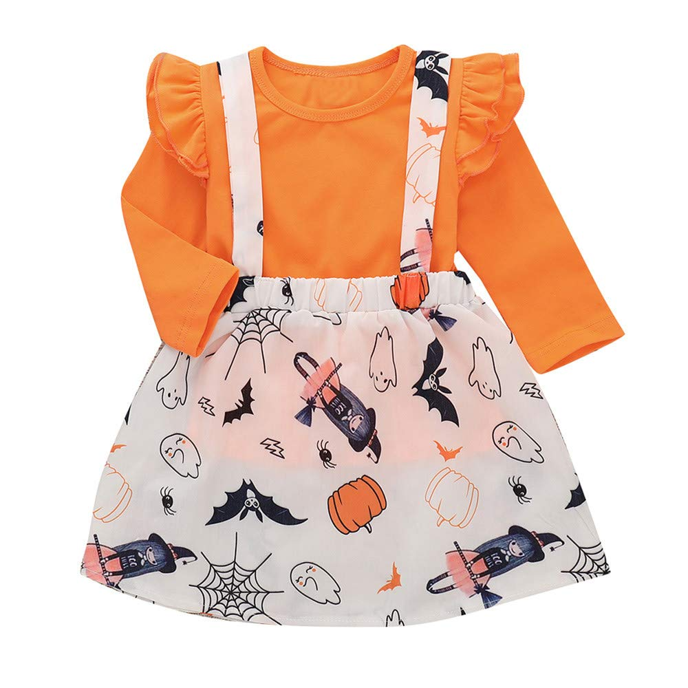 99a335d05 Amazon.com  1-4T Kids Baby Girls Long Sleeve Ruffle Tops Pumpkin ...