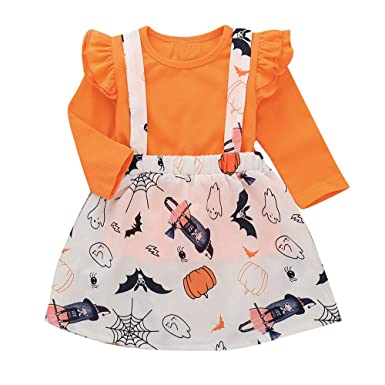 94eb01aca28 Amazon.com  Halloween Clothes Toddler Baby Girls Cute Strap Skirt Long  Sleeve T-Shirt Ruched Tops+Skirt 2PCS Outfits Set  Clothing