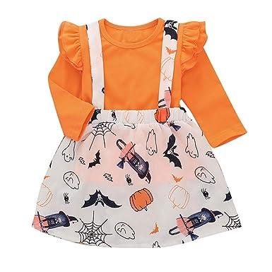 MAYOGO Halloween Disfraz Conjunto de Niña Camiseta Manga Larga y ...