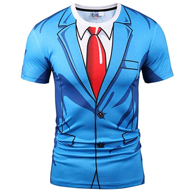 LKIH T,Shirt Men/Women 3D Tshirt Print Blue Suit Jacket Tops