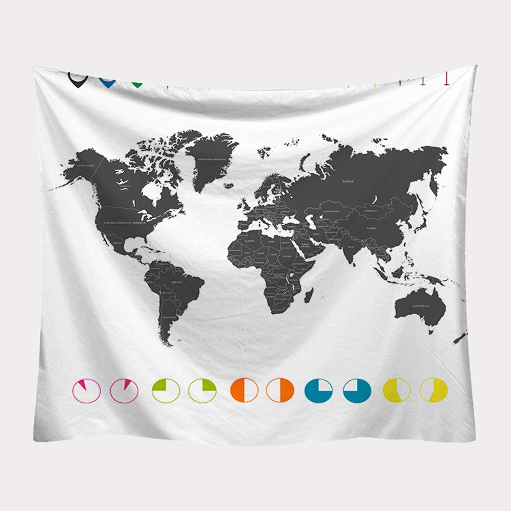 ETH Nordic hangcloth Decorative Tapestry Tapestry Beach Towel Tapestry World map Printing Blanket Durable (Size : 200x150CM)