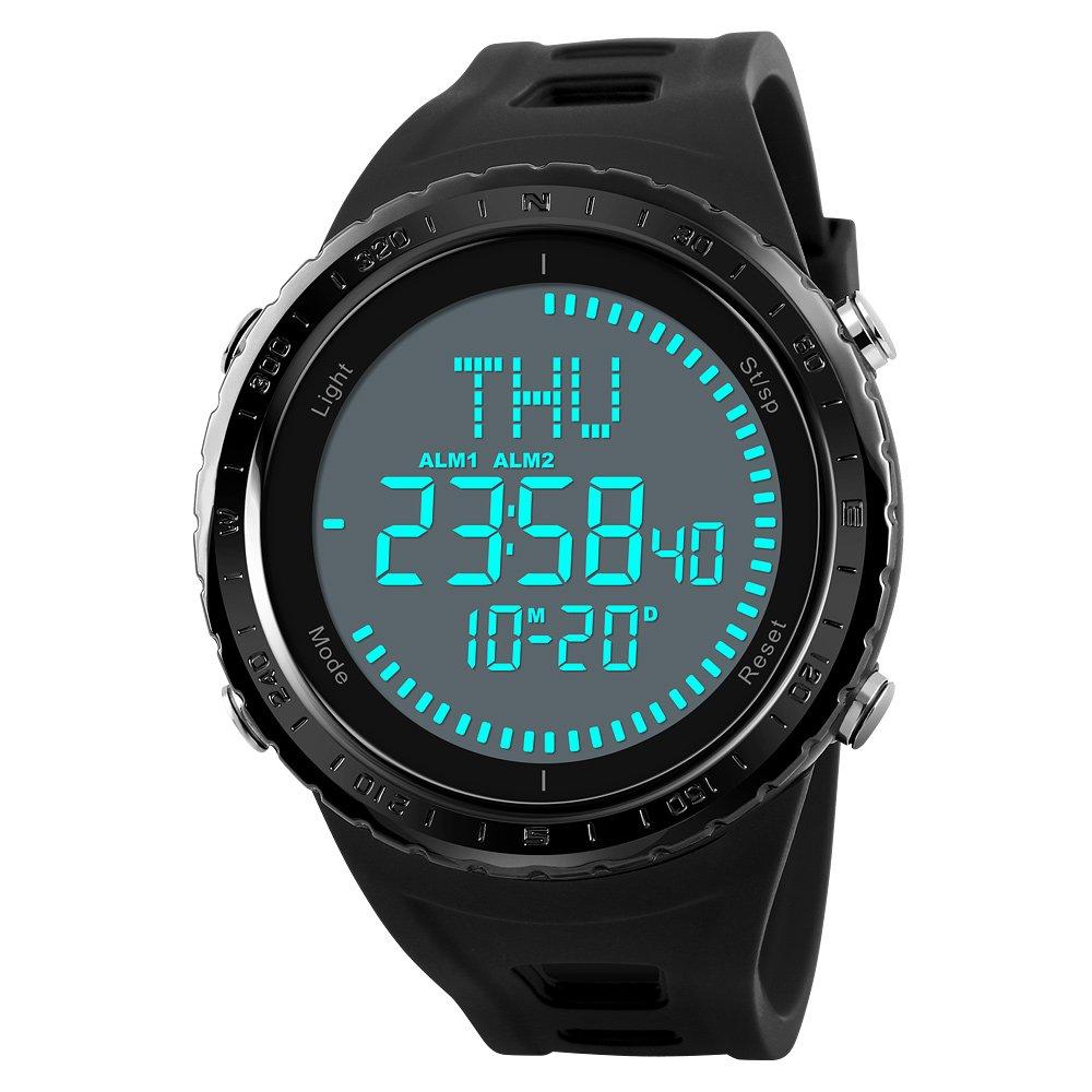 2018 NEW Compass Watch Men Sports Watches Outdoor 50M Waterproof Countdown Chronograph Digital Wristwatches (Black)