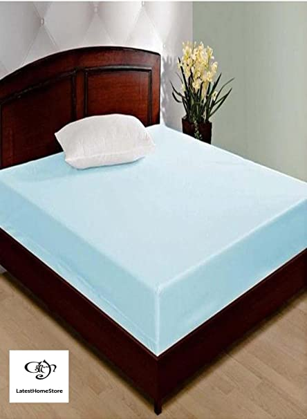 LatestHomeStore Waterproof Double Bed Mattress Cover wth Elastic Strap (Blue)