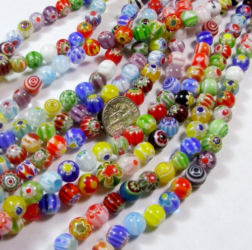 beading-station-95-piece-tiny-millefiori-flower-lampwork-glass-round-beads-4mm
