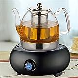 Théière en Verre avec Filtre en Acier Inoxydable Résistant à la Chaleur - 800 ml - pour thé en feuilles et thé en fleurs  , acier inoxydable Verre, 1200ml