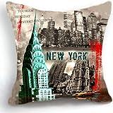 OJIA Retro Vintage New York City 18 X 18 Inch Cotton Linen Home Decorative Throw Cushion Cover / Pillow Sham