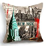 OJIA Retro Vintage New York City 18 X 18 Inch Cotton Linen Home Decorative Throw Cushion Cover / Pillow Sham