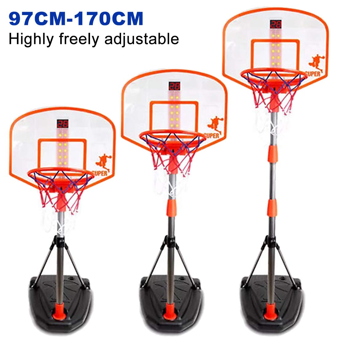 Mecotech Canasta Baloncesto Infantil, 97-170CM Ajustable Canasta Baloncesto con Dispositivo de puntuación para Exterior y Interior