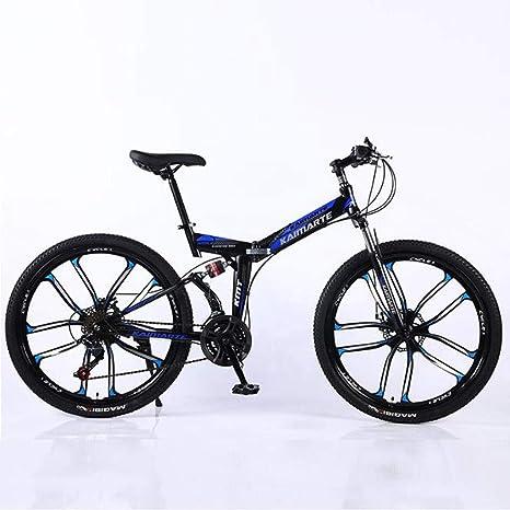WGYEREAM Bicicleta de Montaña, Acero al Carbono 21 24 27 24 Pulgadas Plegable de MTB Barranco