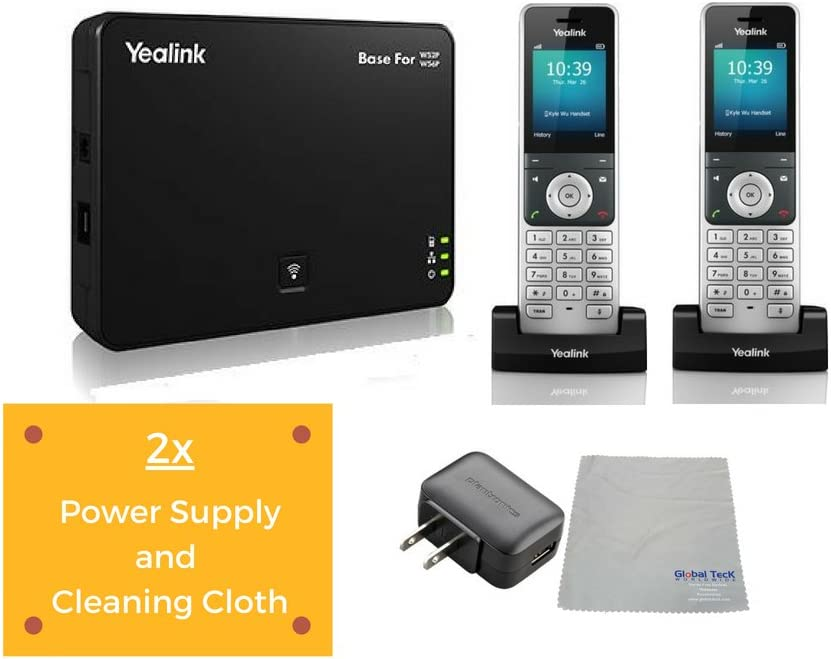 Global Teck Bundle of Yealink W56P IP Cordless Phones Office Bundle-DECT Handset and Base Unit, Power Supply and Microfiber Cloth | Requires VoIP Service (Yealink W56P Base and 2 handsets)