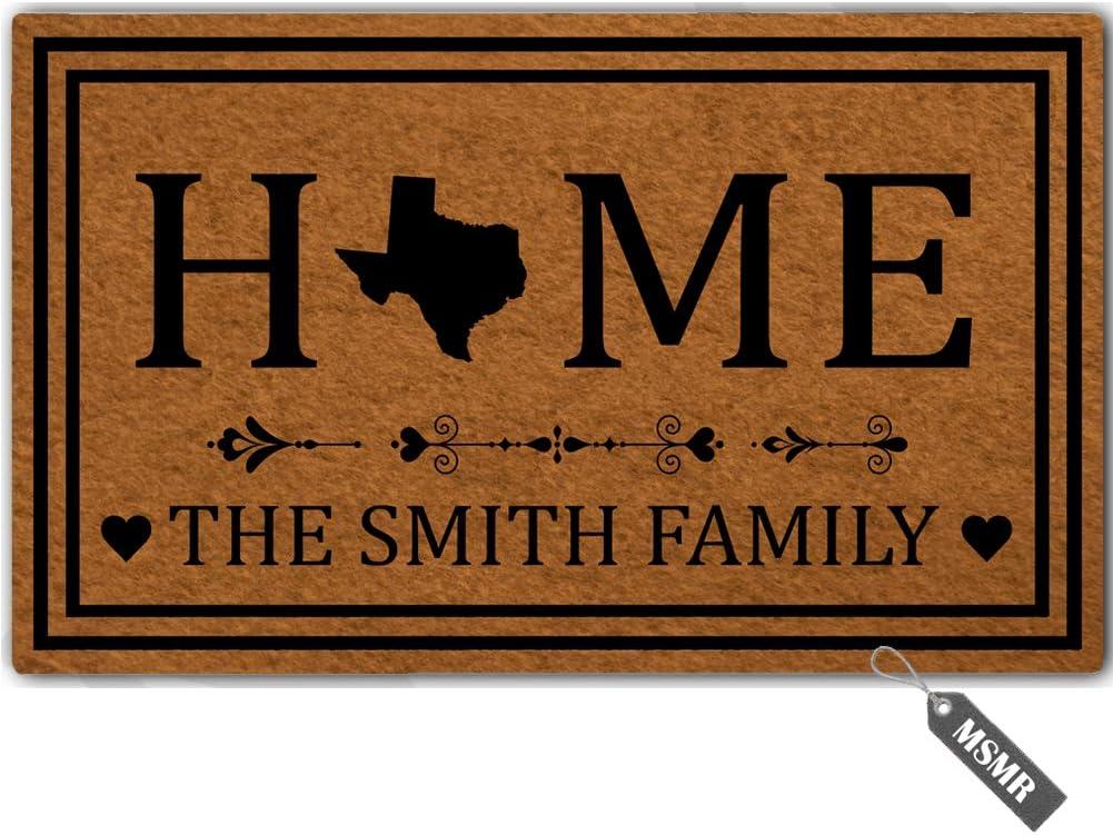 """MsMr Personalized [Your Name] Door Mat Indoor Outdoor Custom Doormat Decorative Home Office Welcome Mat Texas Door Mat 23.6"""" x 15.7"""""""