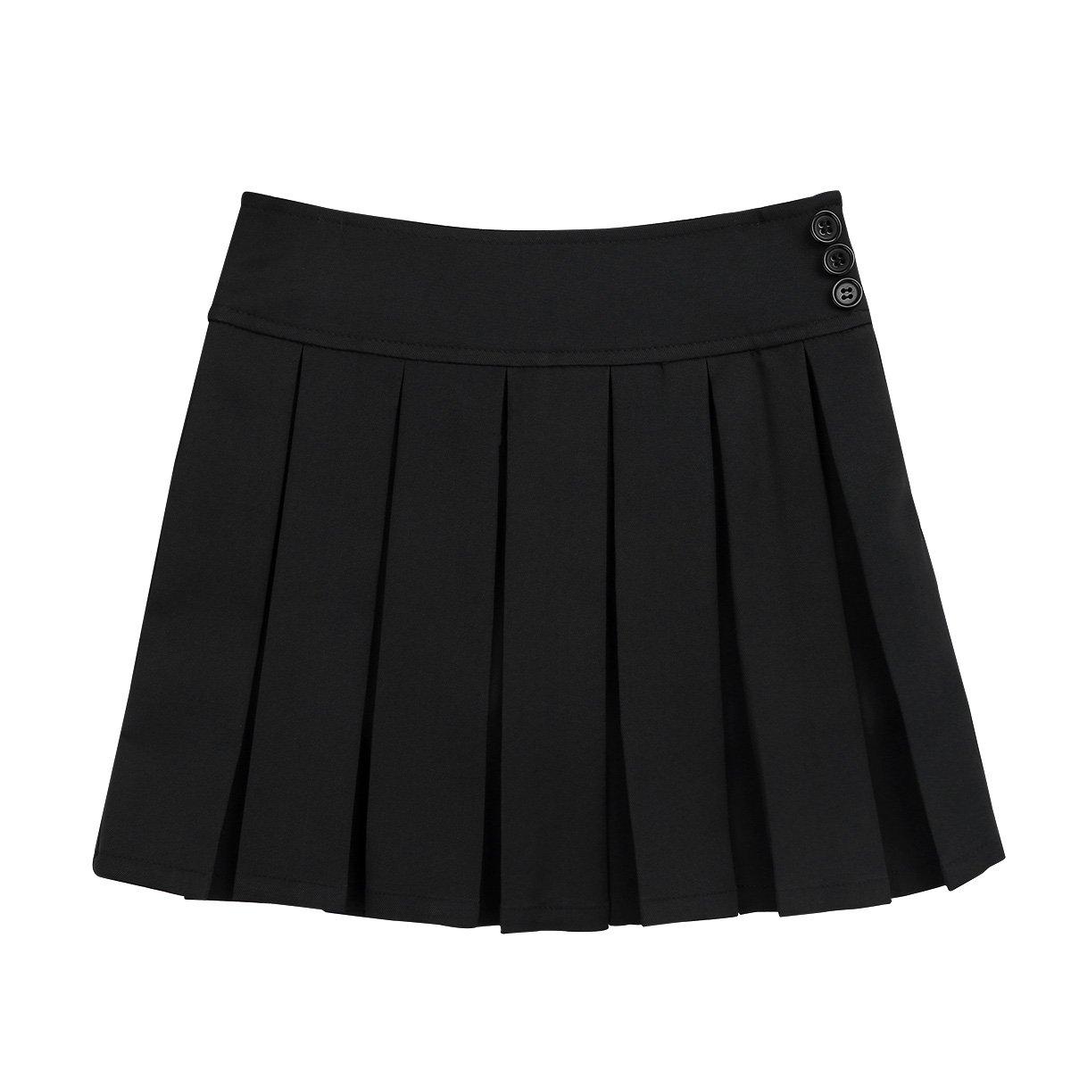 iiniim Girls School Uniform Skirt Pleated Scooters Skort Mini Skirt with Hidden Shorts Black 12