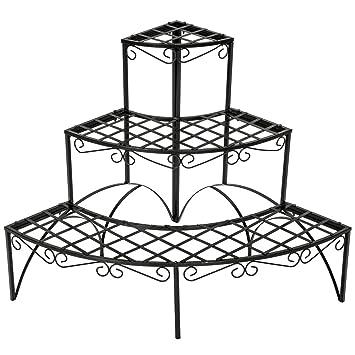 TecTake Etagère de jardin pour plantes escalier en fer 3 niveaux ...