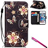 iPhone 5S Case, iPhone 5 Wallet Case, Firefish [Card Slots] [Kickstand] Flip Folio Synthetic Leather Shell Scratch Resistant Protective Cover for Apple iPhone 5/5S/SE-Butterfly