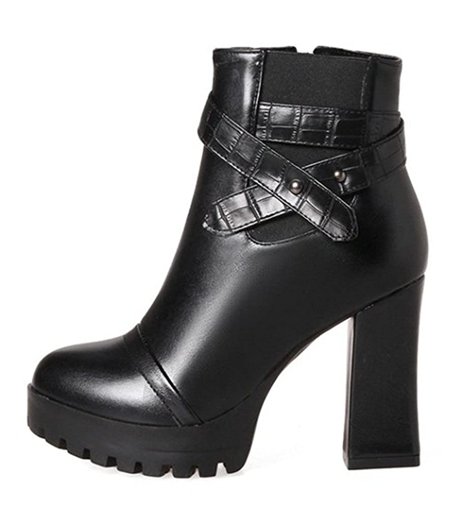 Easemax Damen Punk Punk Damen Riemen High Top Kurzschaft Blockabsatz High Heels Stiefel Schwarz afbc40