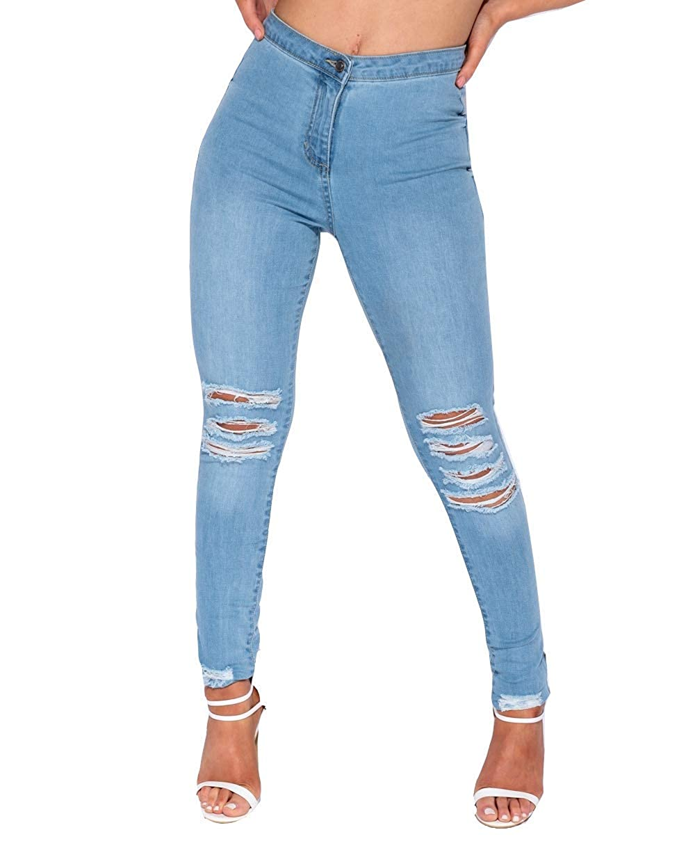 8f81fdd009cf4 Parisian Women's Ripped Skinny Jeans - Light Blue High Waisted Super Soft  Rip Knee Jeans (10, Blue): Amazon.co.uk: Clothing