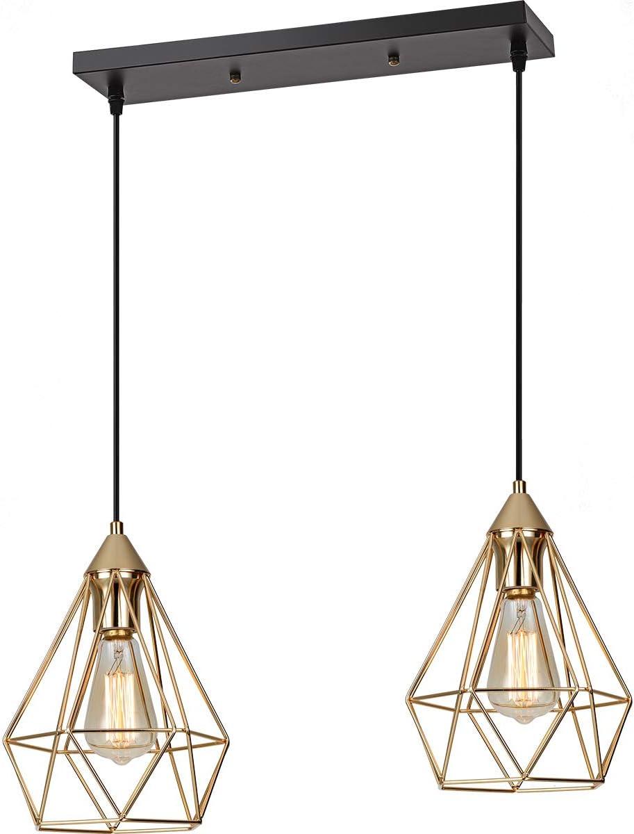 SEEBLEN 2- Light Indoor Island Pendant Light Gold Metal Hanging Ceiling Light Fixtures for Kitchen Island Bar Dining Room Bedroom Farmhouse Coffee Office UL listed E26 Edison gold Hanging light