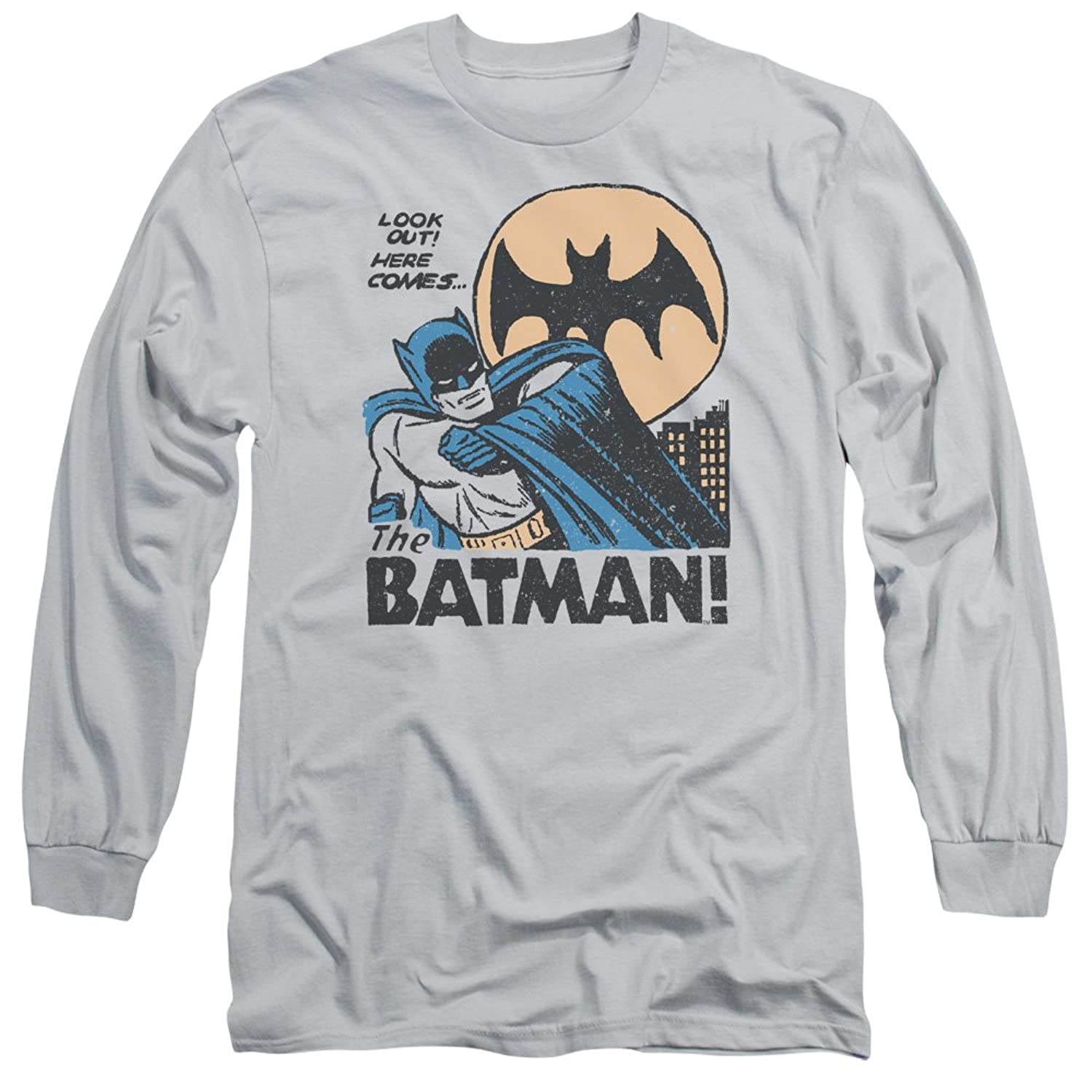 DC Batman Original Retro Look Out! Here Comes The Batman! Adult L-Sleeve T-Shirt