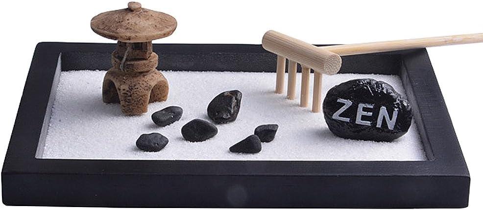 Tookie Zen Sand Garden - Juego de mesa de jardín para escritorio, mini rocks de río natural, buda rastrero, zen, jardín, relajación, meditación y paisaje: Amazon.es: Hogar