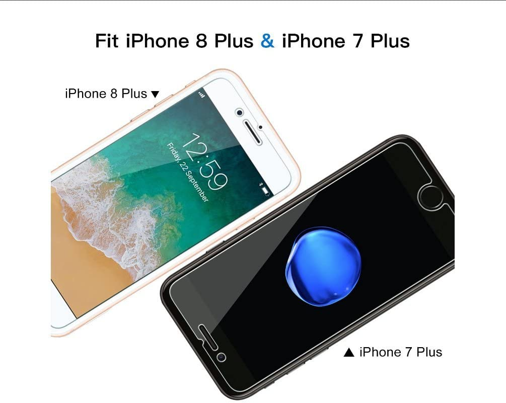 iPhone - Screen - Protector for iPhone X,iPhone 7 Plus,iPhone 8 Plus,iPhone 7,iPhone 8, Clear [2-Pack] (iPhone 7/8 Plus)