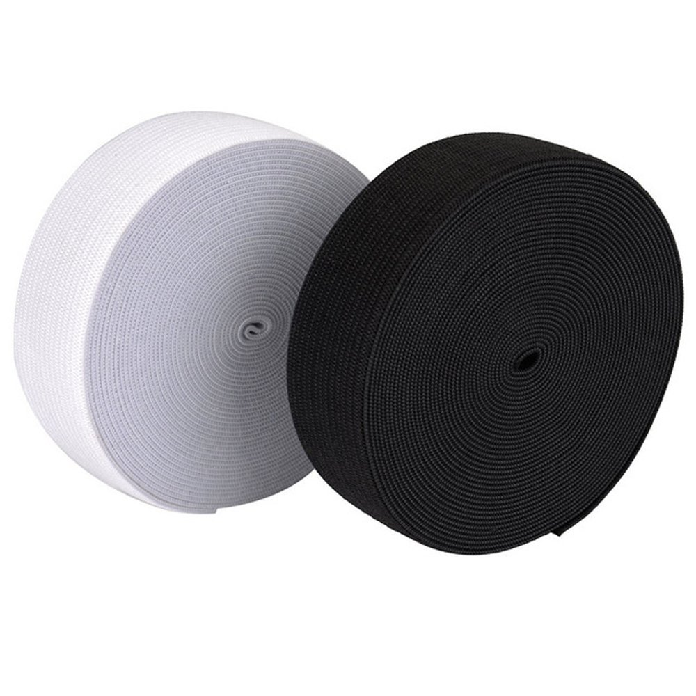 25MM 1inches Flat Woven Elastic Black White Waistband Tailoring Dressmaking