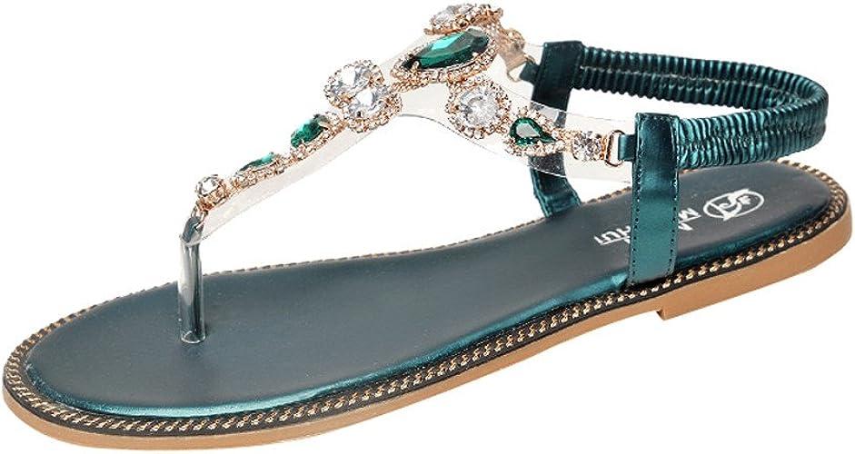 Sandales Femmes,LANSKIRT Pantoufles à Bout Ouvert en Strass à La Mode Femmes Bohème Plates Sandales Perlées Fleur Strass Clip Toe Élastique Dos Sangle Sandales Été Casual Plage