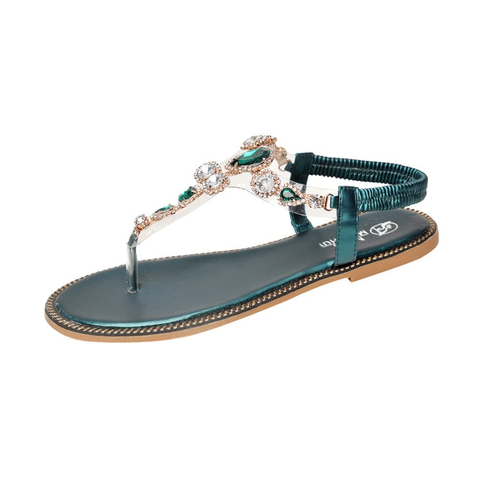 Sandales Femme,La Mode des Femmes Strass Talon Plat Anti Plage Glissante Chaussures Sandales Pantoufle,Chaussures de Sport
