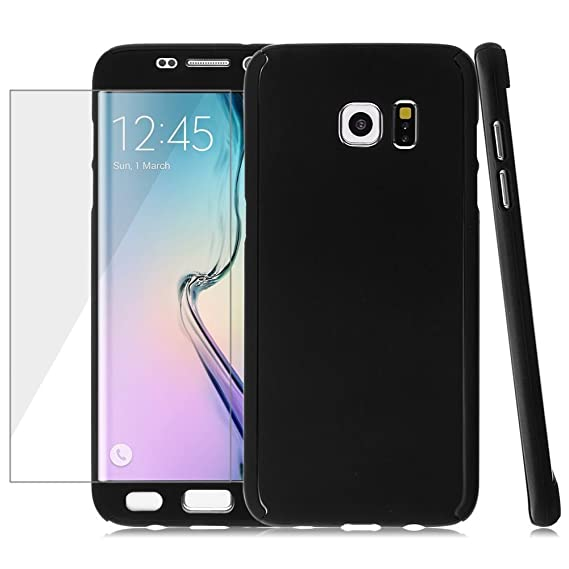 save off 2743c bed96 360° Full Coverage Hybrid Hard Case Cover +Tempered Glass Film for Samsung  Galaxy (Samsung S7 Edge-Black)