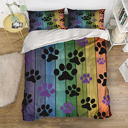Libaoge 4 Piece Bed Sheets Set, Colorful Dog Paw Prints Rustic Old Barn Wood Design, 1 Flat Sheet 1 Duvet Cover and 2 Pillow Cases