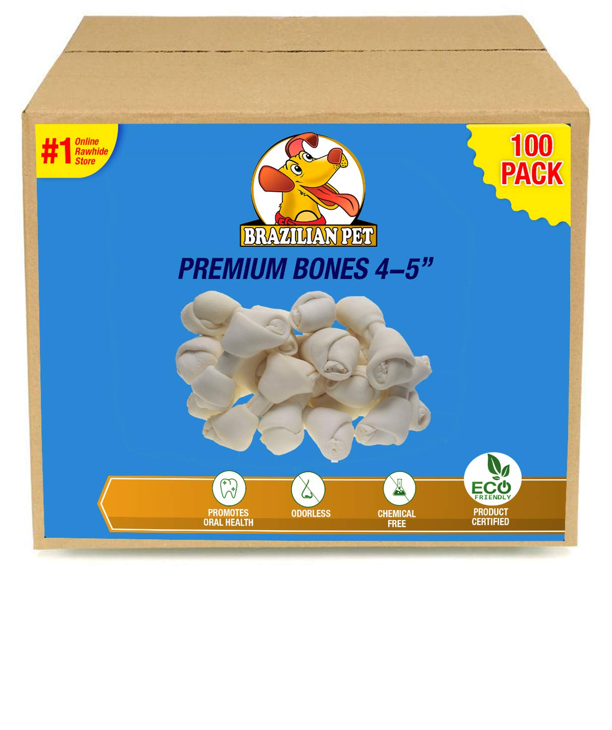 4-5 Inch Premium Dog Bones -Chewing Dog Treat Made with The Best Rawhide 100% Natural - No Additives, Chemicals or Hormones - Natural Grass Fed in South America by Brazilian Pet