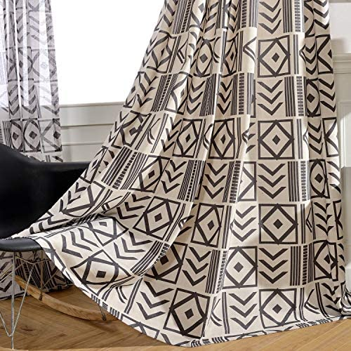 Melodieux Black Geometric Pattern Room Darkening Grommet Curtain