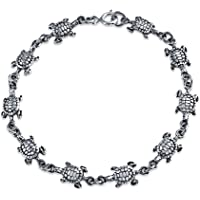 Nautical Beach Sea Turtle Tortoise Link Charm Bracelet For Women For Teen Oxidized 925 Sterling Silver