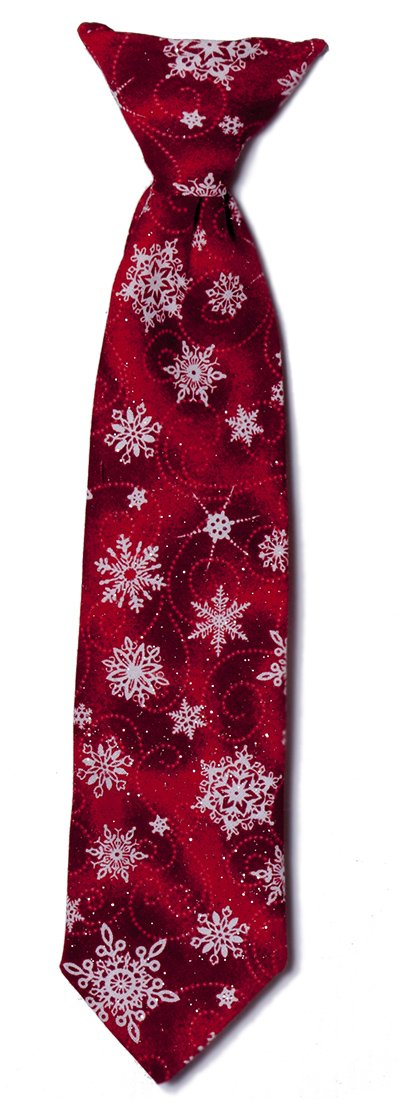 Red Shimmer Snowflake Clip-on Neck Tie Holiday Design for Baby to Adult (Boys)