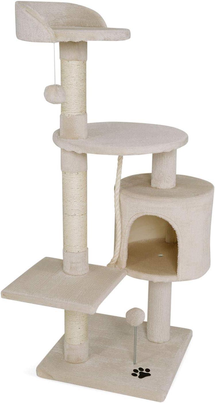 dibea Árbol rascador árbol para escalar árbol rascador para gatos Altura 112 cm Beige