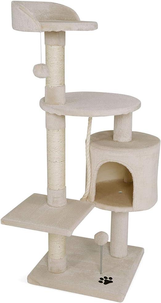 Oferta amazon: dibea Árbol rascador para Gatos, 112 cm (Beige)