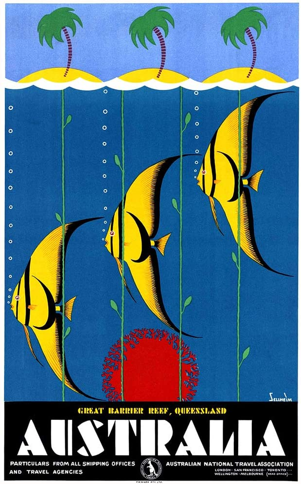 Australia Tourism Queensland Great Barrier Reef Angel Fish Vintage Travel Cool Wall Decor Art Print Poster 12x18