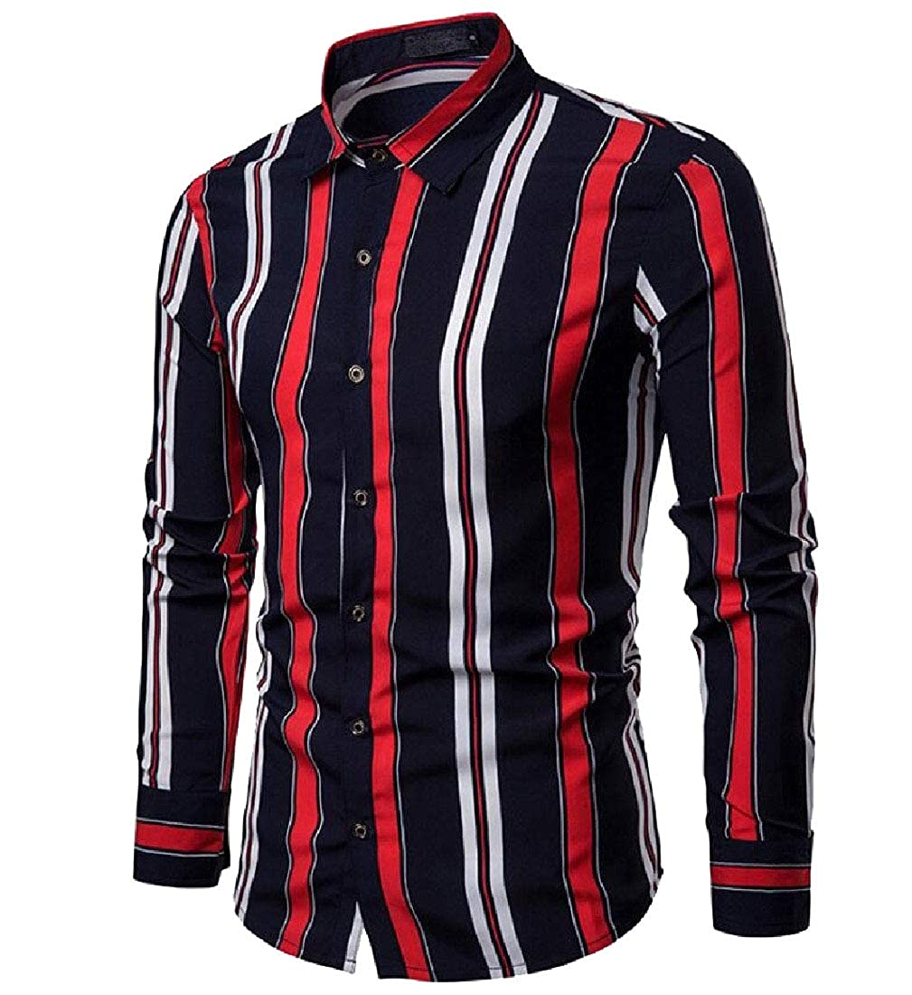 Zimaes-Men Button Up Wide Stripe Long Sleeve Fold-Collar Tops T-Shirts