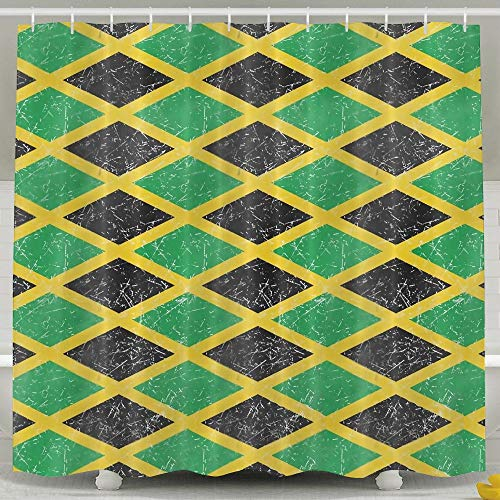 Huangwei Flag of Jamaica Seamless Pattern Shower Curtain Waterproof Polyester Fabric Bath Curtain 65