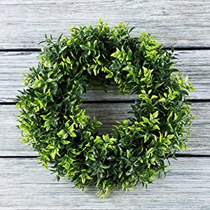 Pure Garden Boxwood Wreath, Artificial Wreath for The Front Door, Home Décor, UV Resistant - 14 Inches 2