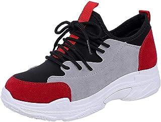 Chaussures ADESHOP Mode Femmes Baskets Lacer LaçAge ÉPissage Couleur Talon Plat Mocassins Occasionnels Baskets Dames Confortable AntidéRapant Respirant Chaussures De Les Loisirs Travail