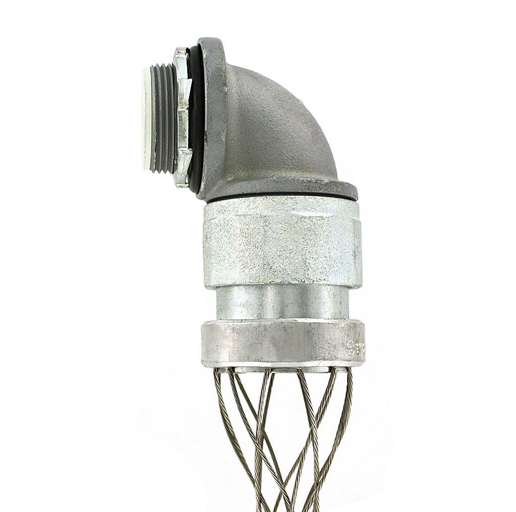 Leviton L7969 1-1/4-Inch 90-Degree, Male, Aluminum Body, Liquid-Tight Non-Metallic Type A Conduit, Strain-Relief Grip