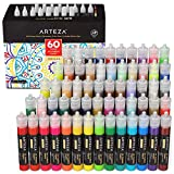 Arteza 3D Fabric Paint, Set of 60, Metallic & Glitter Colors, 1oz Tubes, Glow-in-The-Dark & Vibrant Shades, Textile Paint for Clothing, Accessories, Ceramic & Glass (Tamaño: 60 Colors)