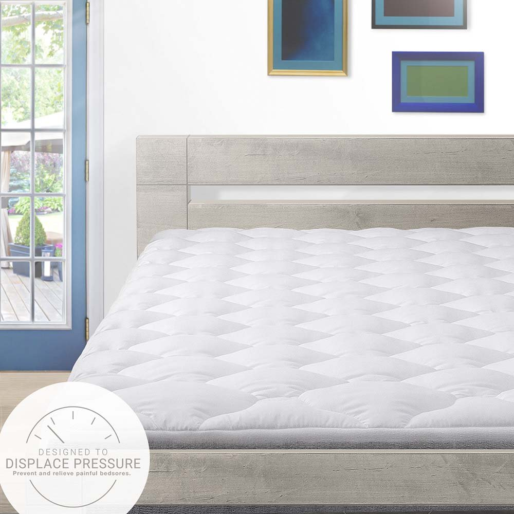 Cardinal & Crest Bed Sore Relief Pillow Top Mattress Pad with Fitted Skirt, American-Made, Queen