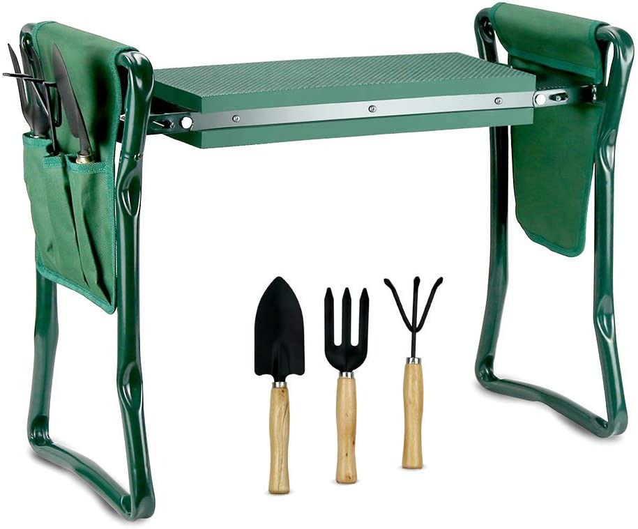 Echaprey Garden Kneeler and Seat with 2 Tool Pouches and 3 Garden Tools Folding Heavy Duty Garden Bench Thick Pad Kneeling Stool for Gardeners