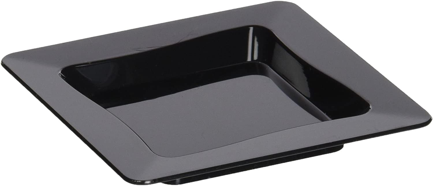 Amazon Com Fineline Settings 10 Piece Tiny Temptations Tray 3 By 3 Inch Black Party Tableware Serving Trays