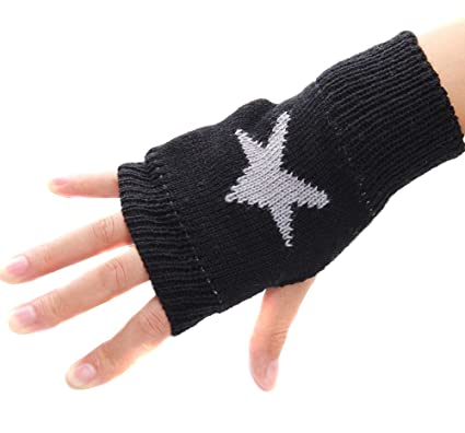 Amazon Hustar Winter Star Pattern Fingerless Knit Gloves