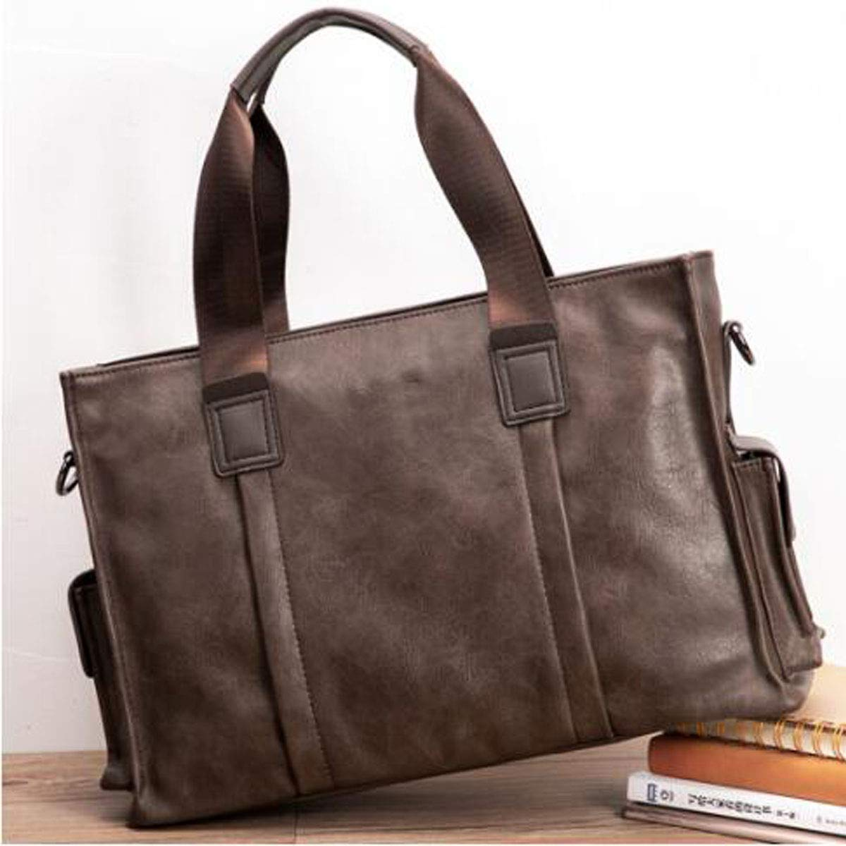 Color : Dark Coffee Khaki Size: 40.711.627.3cm Wear Resistant Qiaoxianpo01 Briefcase Trend Retro Casual Business Tote Large Capacity Messenger Bag