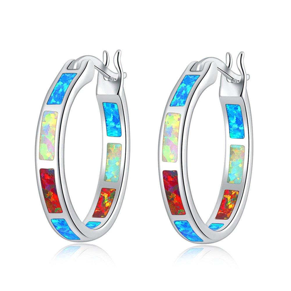CiNily Created Blue Pink White Fire Opal Women Jewelry Gemstone Rhodium Plated Hoop Earrings 7/8 Shenzhen Xi En Jewelry co. ltd OH2665