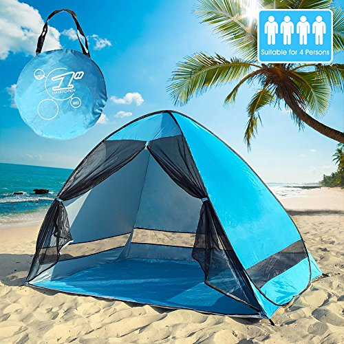 4 People Pop Up Beach Tent Portable Sun Shelter UV Protection Shade Cabana for Outdoor Activities and Beach Traveling (Blue) by Betty