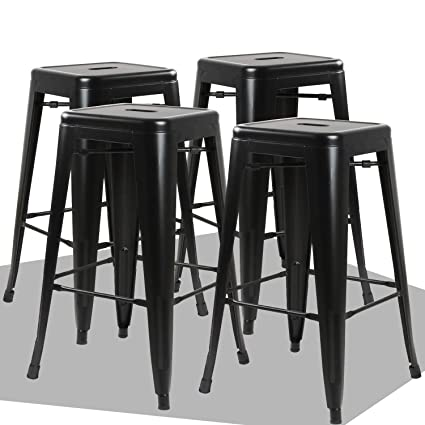 Enjoyable Waleaf 24Metal Stools Indoor Outdoor Counter Height Stackable Bar Stool Modern Style Restaurant Cafe Chic Bistro Side Stool Set Of 4 Black Squirreltailoven Fun Painted Chair Ideas Images Squirreltailovenorg
